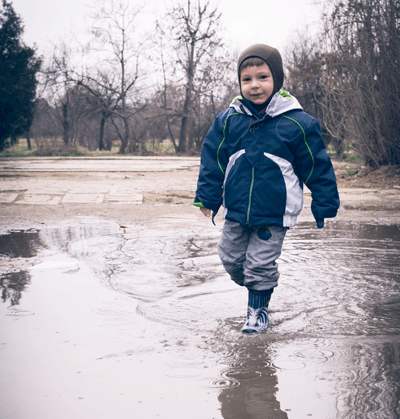 Child in puddle