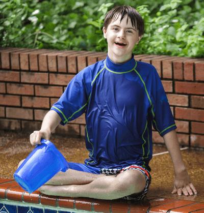 Autistic child at pool