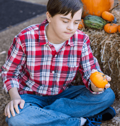 Autistic child outside